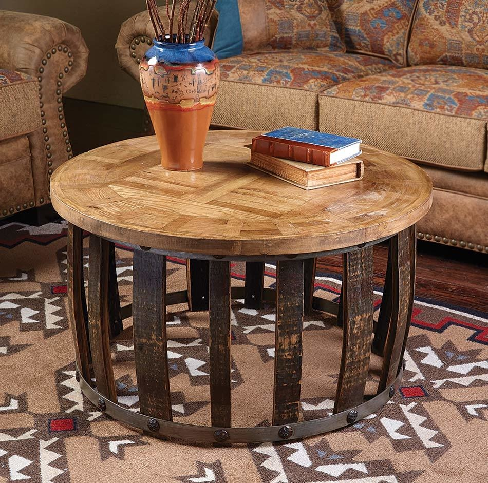 rustic coffee tables and end black forest decor tequila stave round table wood log accent farm dining set home goods website outdoor pillows luggage rack white folding side modern