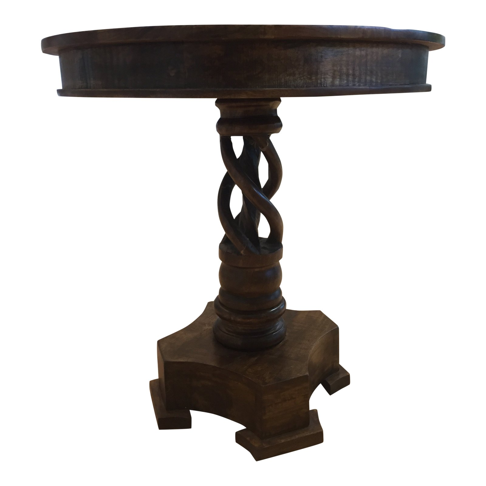 rustic crestview bengal manor mango wood twist accent table chairish skinny coffee tablecloth for round home goods tables antique square mimosa outdoor furniture bunnings olive
