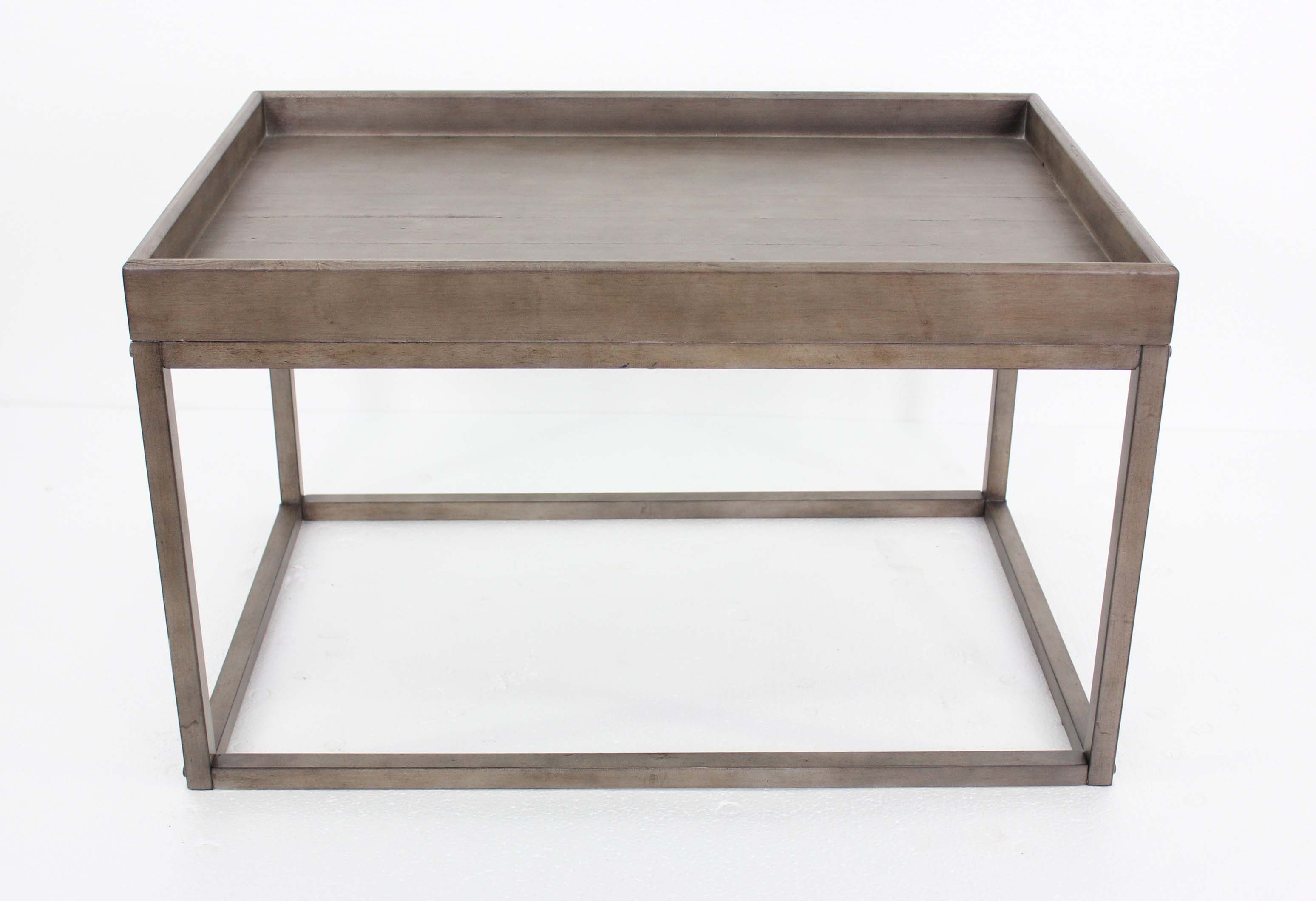 rustic dark grey accent table with rimmed top products gray acrylic side wheels ikea storage boxes wood bedside two tier round inch tablecloth white washed end tables coffee metal