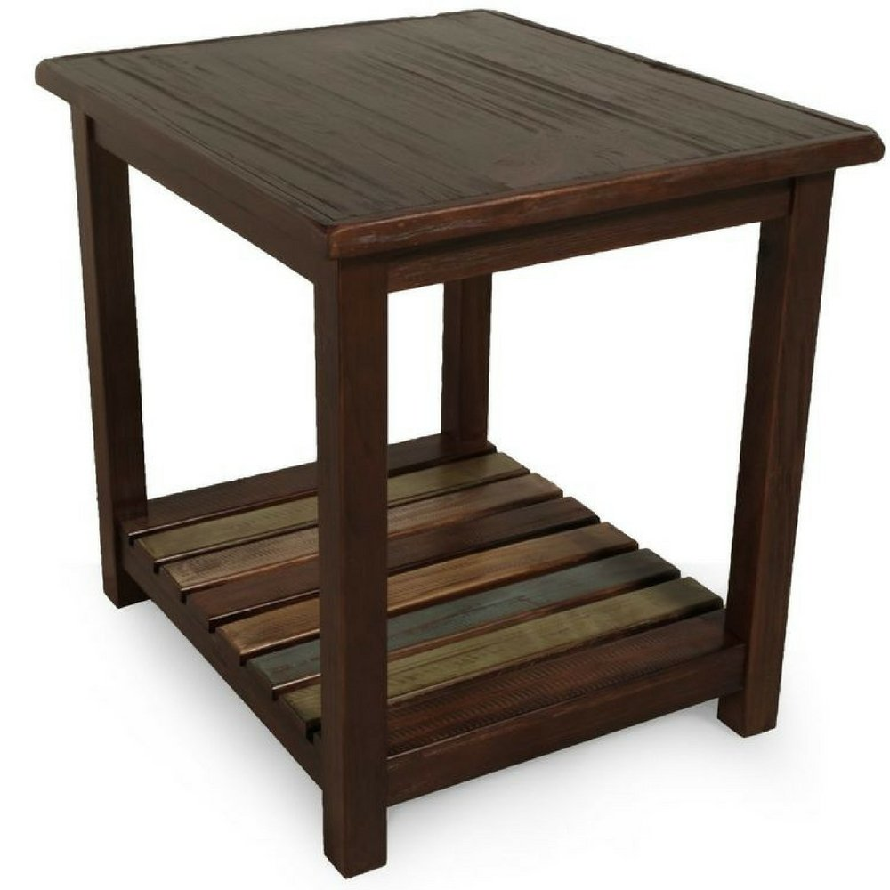 rustic dark wood end table side chairside accent small farmhouse reclaimed wooden veneers entryway vintage living room with shelves contemporary traditional bistro and chairs