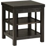 rustic distressed black square end table with shelves signature products design ashley color gavelston accent drawer classic furniture lucite lamps usb antique oak bedside tables 150x150