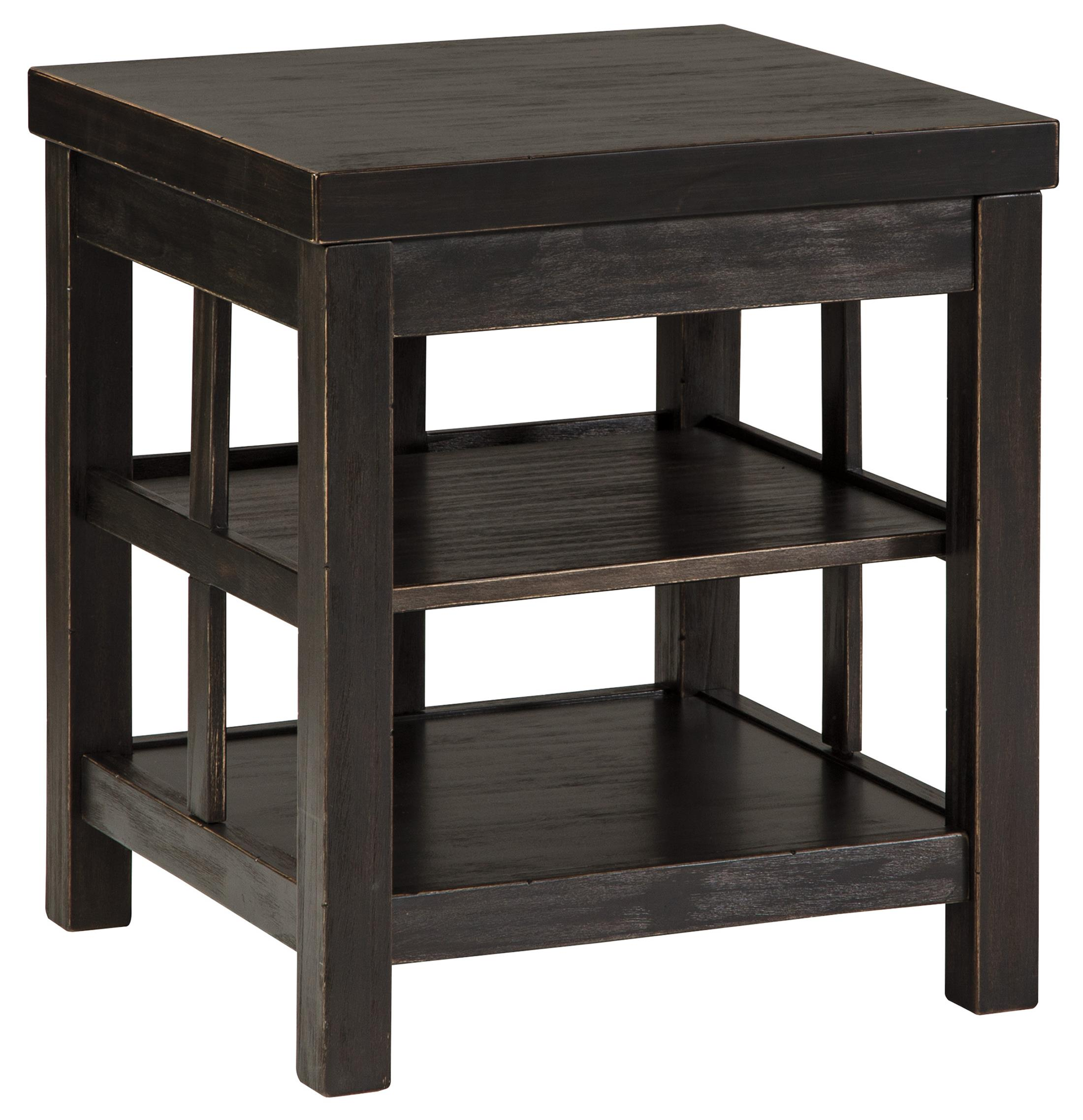 rustic distressed black square end table with shelves signature products design ashley color gavelston accent drawer classic furniture lucite lamps usb antique oak bedside tables