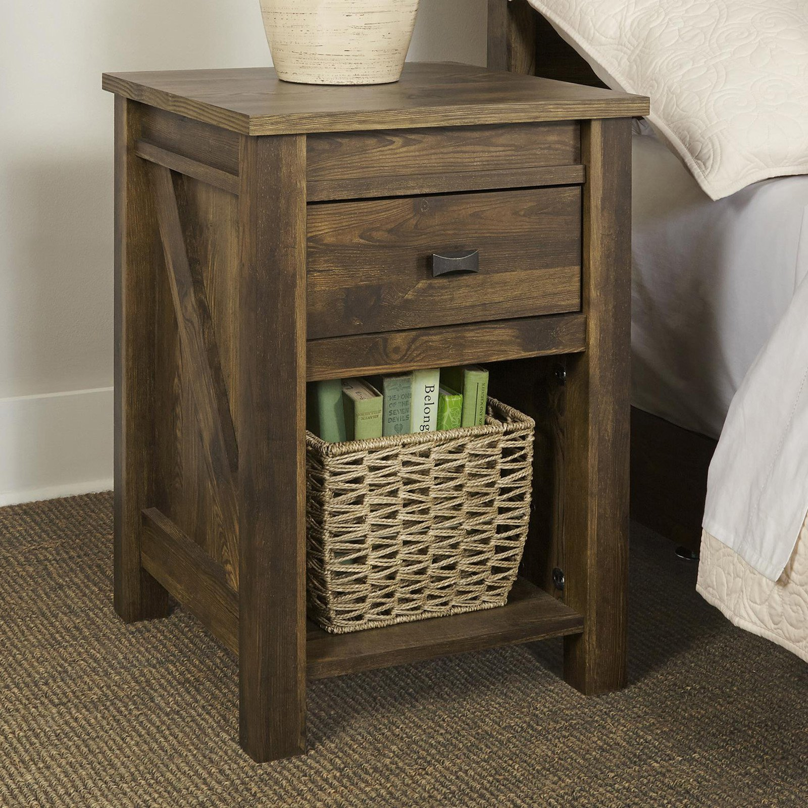 rustic end table farmhouse reclaimed barn wood nightstand side accent furniture metal legs entryway with storage baskets small pedestal folding ikea kitchen stools floor tall thin