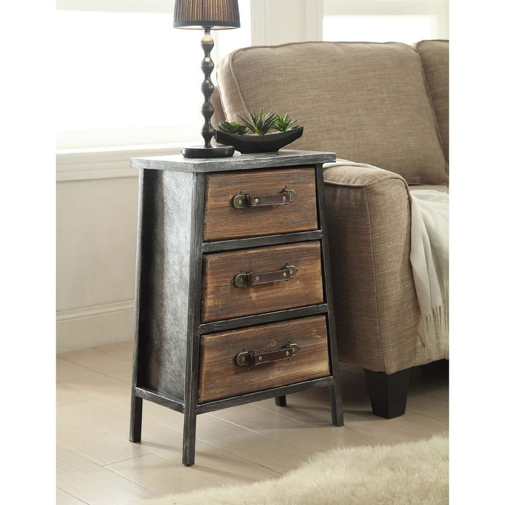 rustic end table nightstand with drawers vintage industrial style accent bedside concepts rusticprimitive dining tables for small spaces long thin side ashley sleeper sofa counter