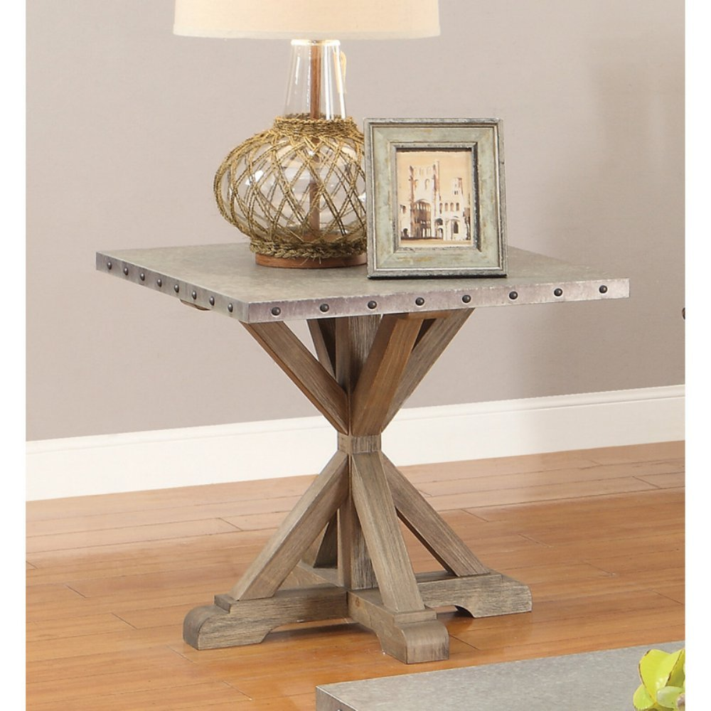 rustic end table with nailhead trim driftwood kitchen accent nailheads dining entrance ideas square metal inch wall clock west elm chairs ashley furniture tables gold side lamps