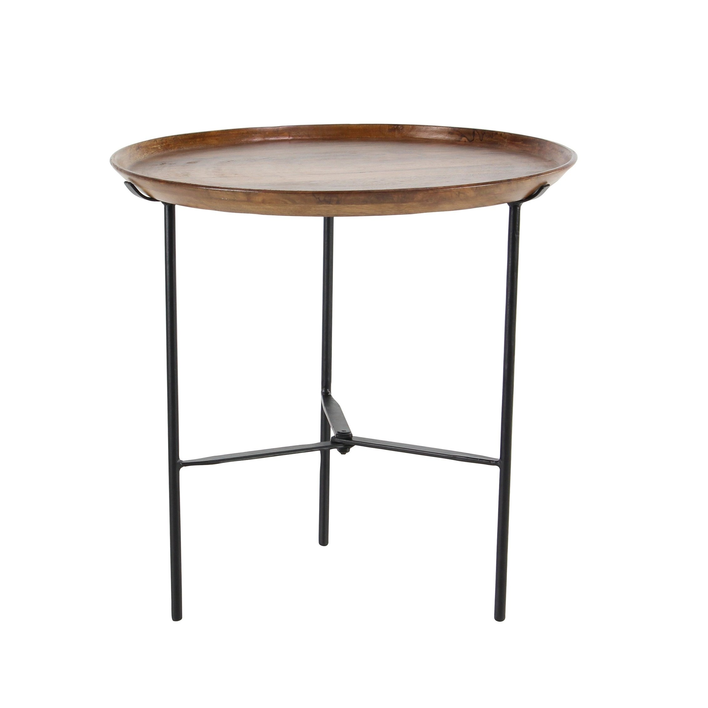rustic inch round wood and iron accent table metal free shipping today pier imports coupon off total entire purchase wine rack furniture fur blanket target rectangle glass coffee