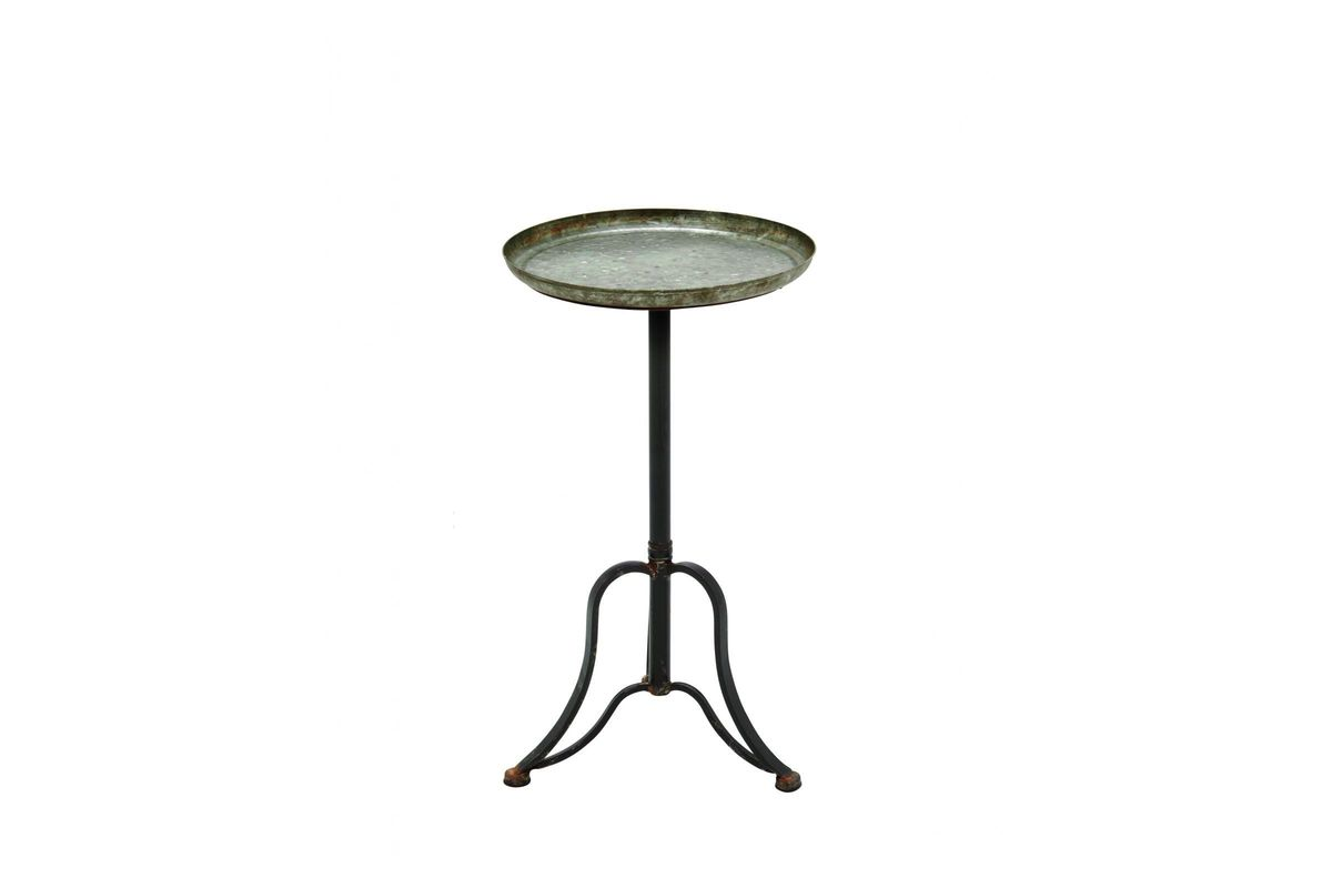 rustic industrial distressed accent table metal from gardner white furniture small leaf bedroom light shades mid century legs skinny sofa green tablecloth tiffany style lighting