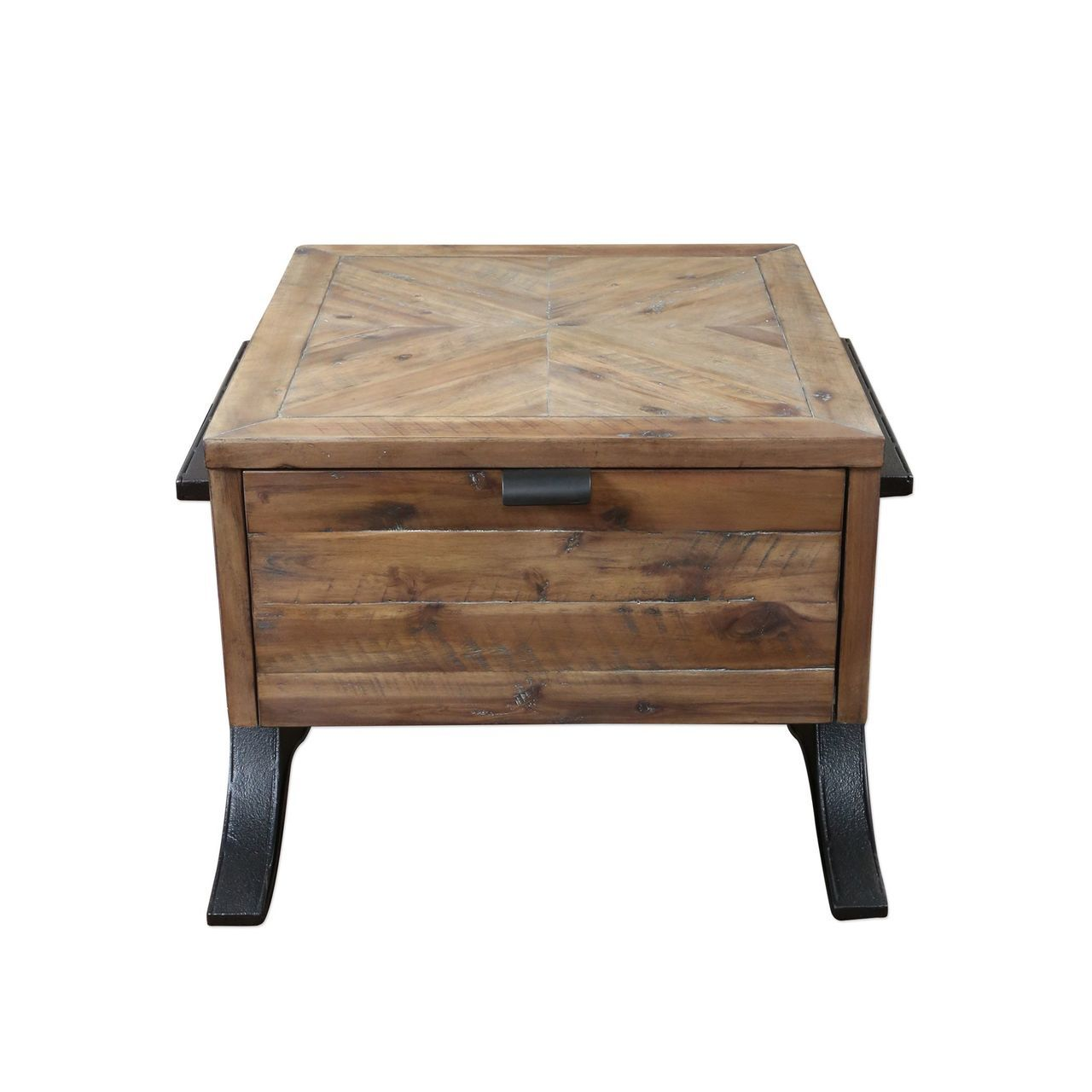 rustic industrial wood iron accent table square drawer cottage teal sofa grill brush dining room doors kitchenette and chairs outdoor antique oval coffee bunnings swing seat mid