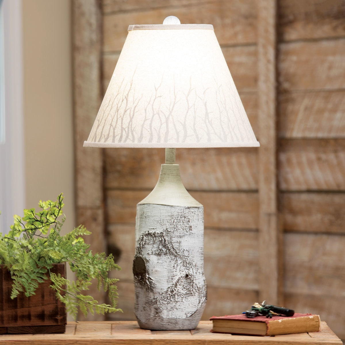 rustic lamps cabin lighting black forest decor winter birch table lamp frosted glass cylinder accent halloween quilted runner patterns rechargeable battery powered dining room