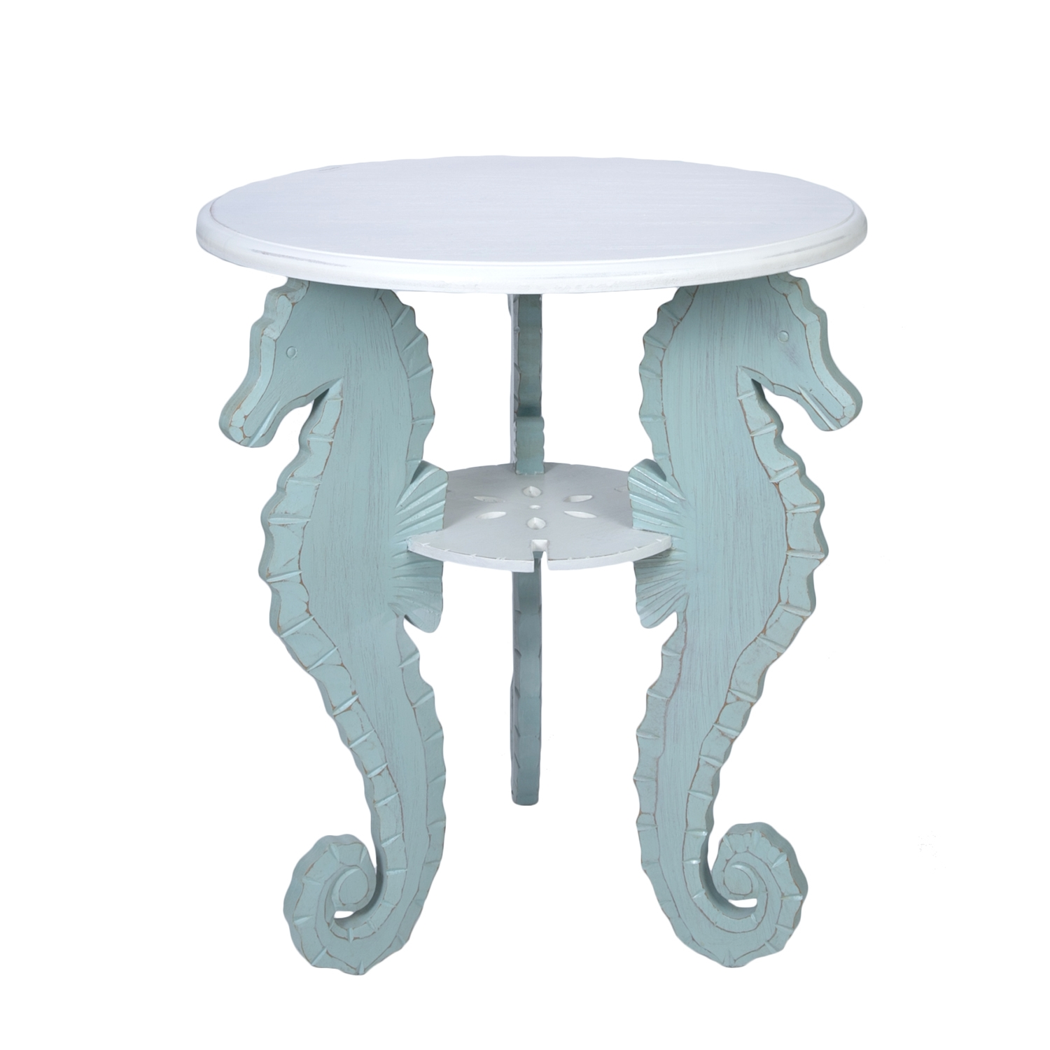 rustic leather furniture the outrageous beautiful teal round end beachcombers coastal life table small seahorse industrial pipe console leons sofas threshold mirrored accent fire