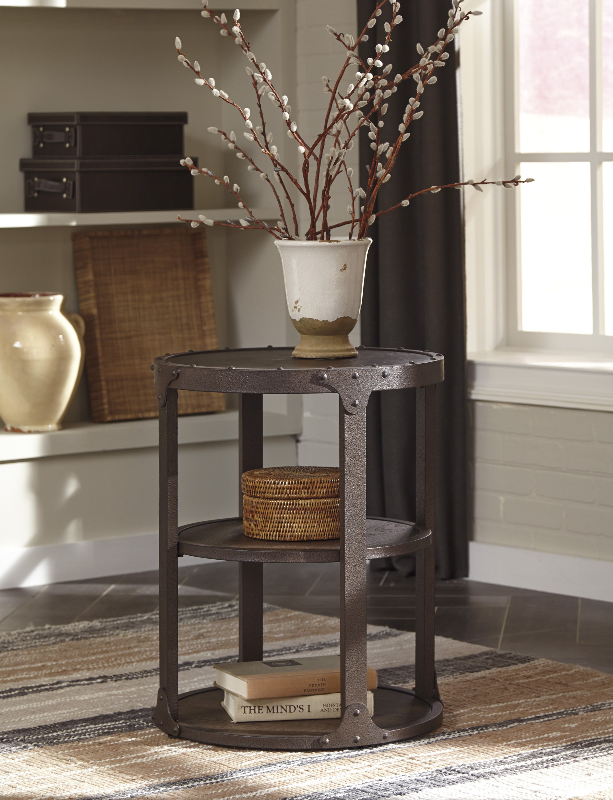rustic metal accent table coma frique studio ashley shofern round end brown finish main finis tribecca home galena industrial modern iron tabl ikea bench tray lamp attic heirlooms