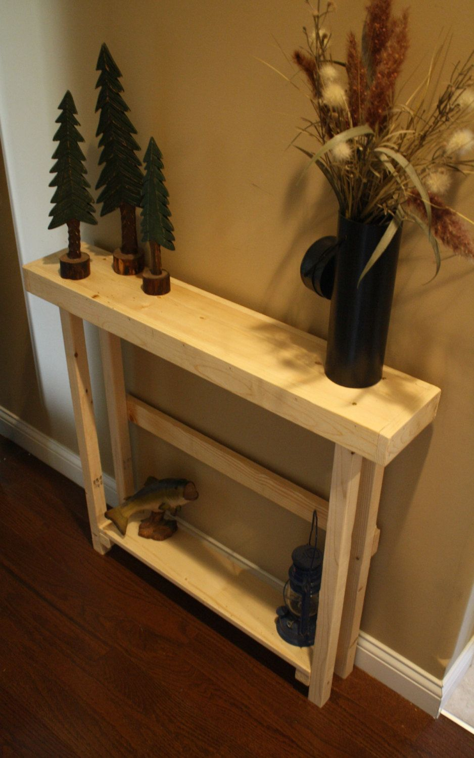 rustic natural northern pine douglas fir wood tall skinny accent table nautural sofa hall with shelf custom made sizes order colors upon request via etsy square glass coffee