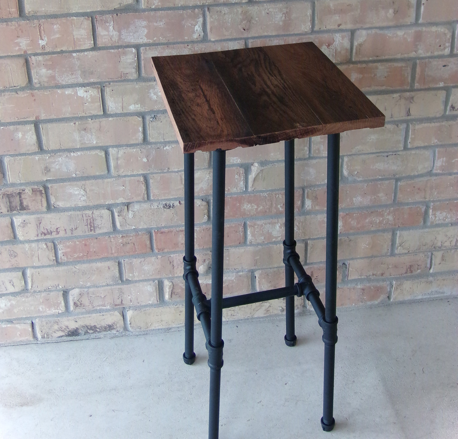 rustic reclaimed wood and pipe barstool accent table etsy fullxfull tables industrial decor farmhouse ikea storage ideas butler tray lamps for living room traditional tall round