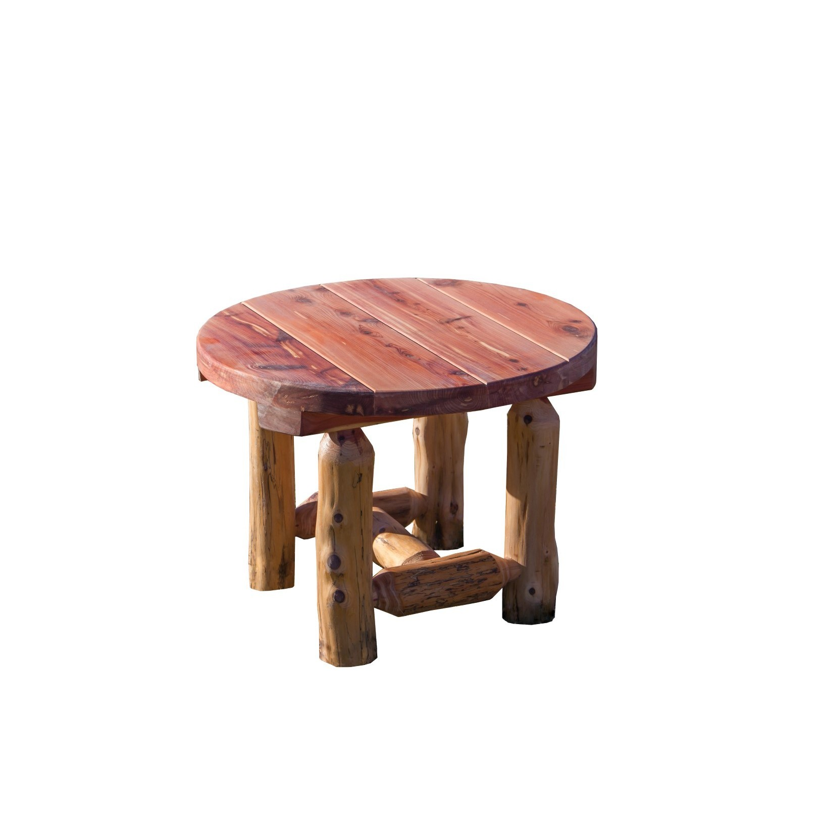 rustic red cedar log outdoor round side table amish made accent free shipping today small foldable coffee ethan allen vintage plastic tables pottery barn hudson furniture nate