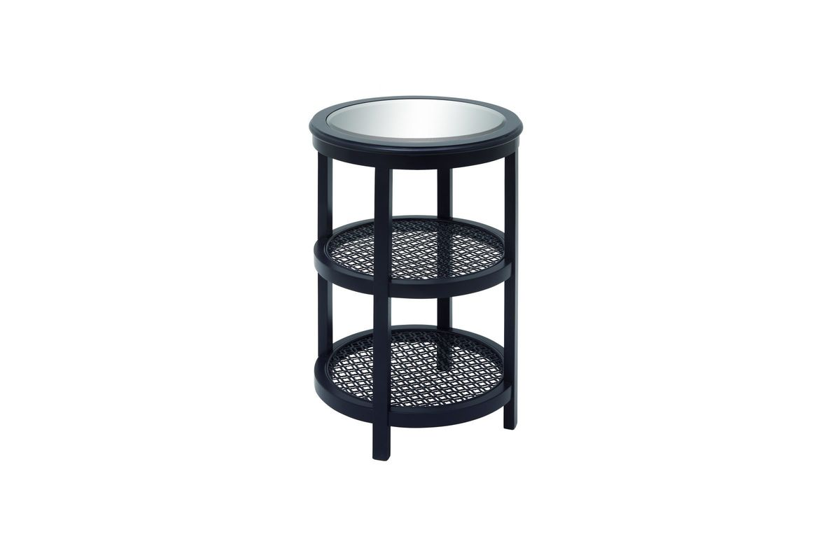 rustic reflections tier round accent table black gardner white from furniture small end tables ikea bistro garden ceramic outdoor side leg kit dining room names living spaces