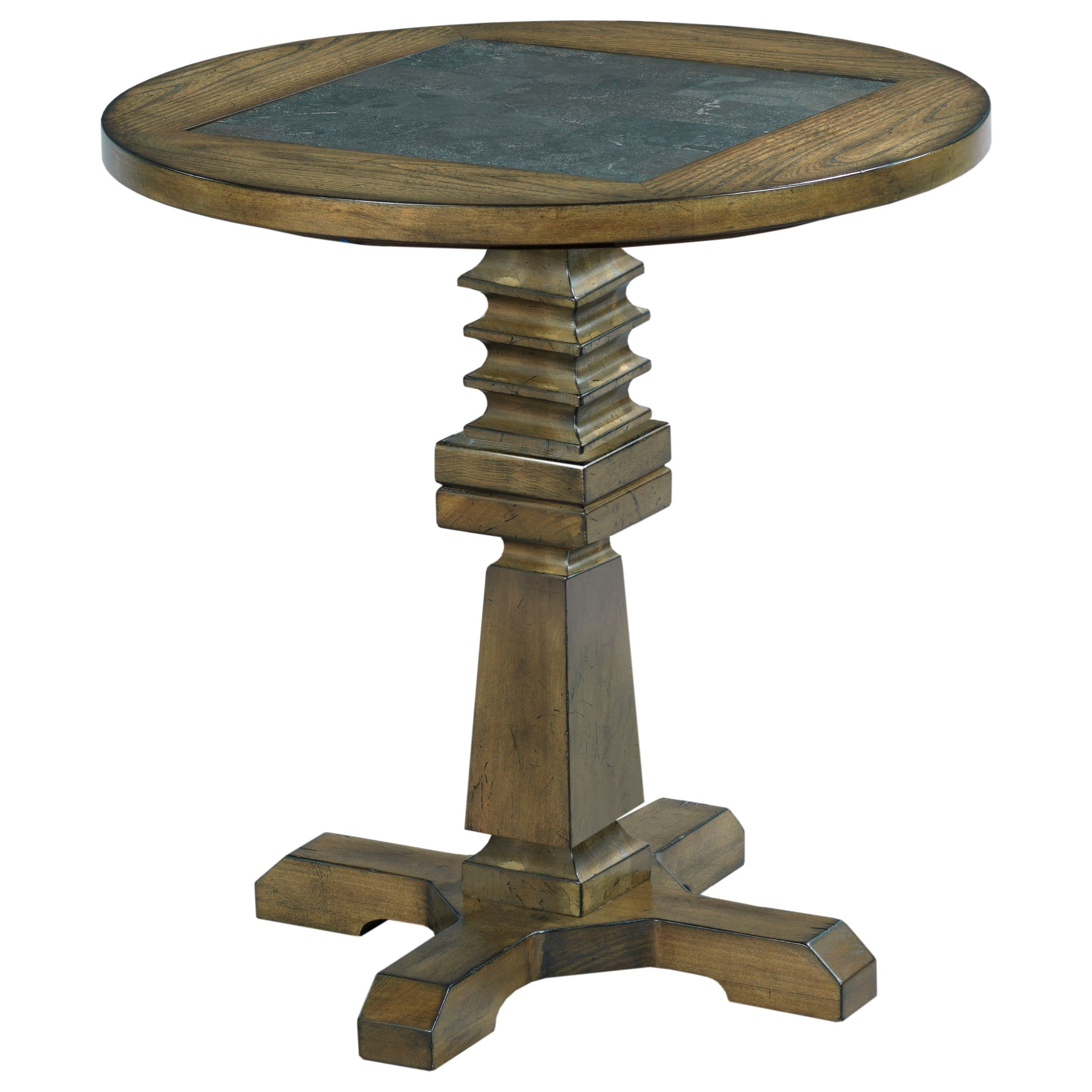 rustic round accent table with blue stone inset hammary wolf products color elm ridge pedestal target gold bar cart small marble top barnwood furniture leather ott golden oak end