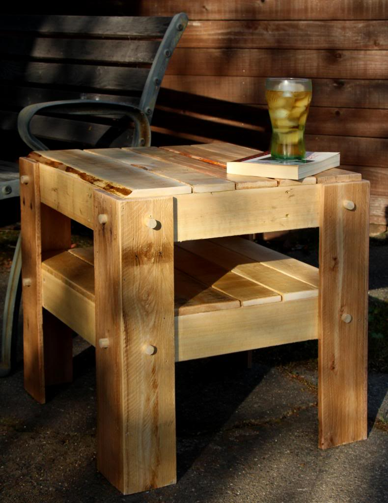 rustic side table made with pallet wood woodworking for mere mortals rusticpatiosidetablemadefromapallet diy outdoor used grit rough sandpaper mostly clean off dirt and stopped