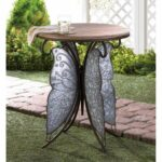 rustic side table night stand iron end metal wood butterfly glass accent wings unbranded bedside lights outside chairs inch target threshold chair jeromes furniture long console 150x150