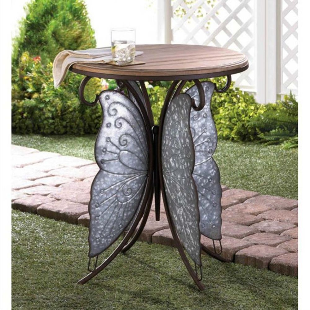 rustic side table night stand iron end metal wood butterfly glass accent wings unbranded bedside lights outside chairs inch target threshold chair jeromes furniture long console