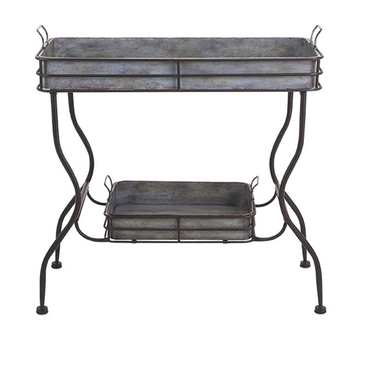 rustic silver galvanized metal accent table with removable serving trays free shipping today vintage lucite small outdoor triangle side half circle hall winsome timmy lamps end
