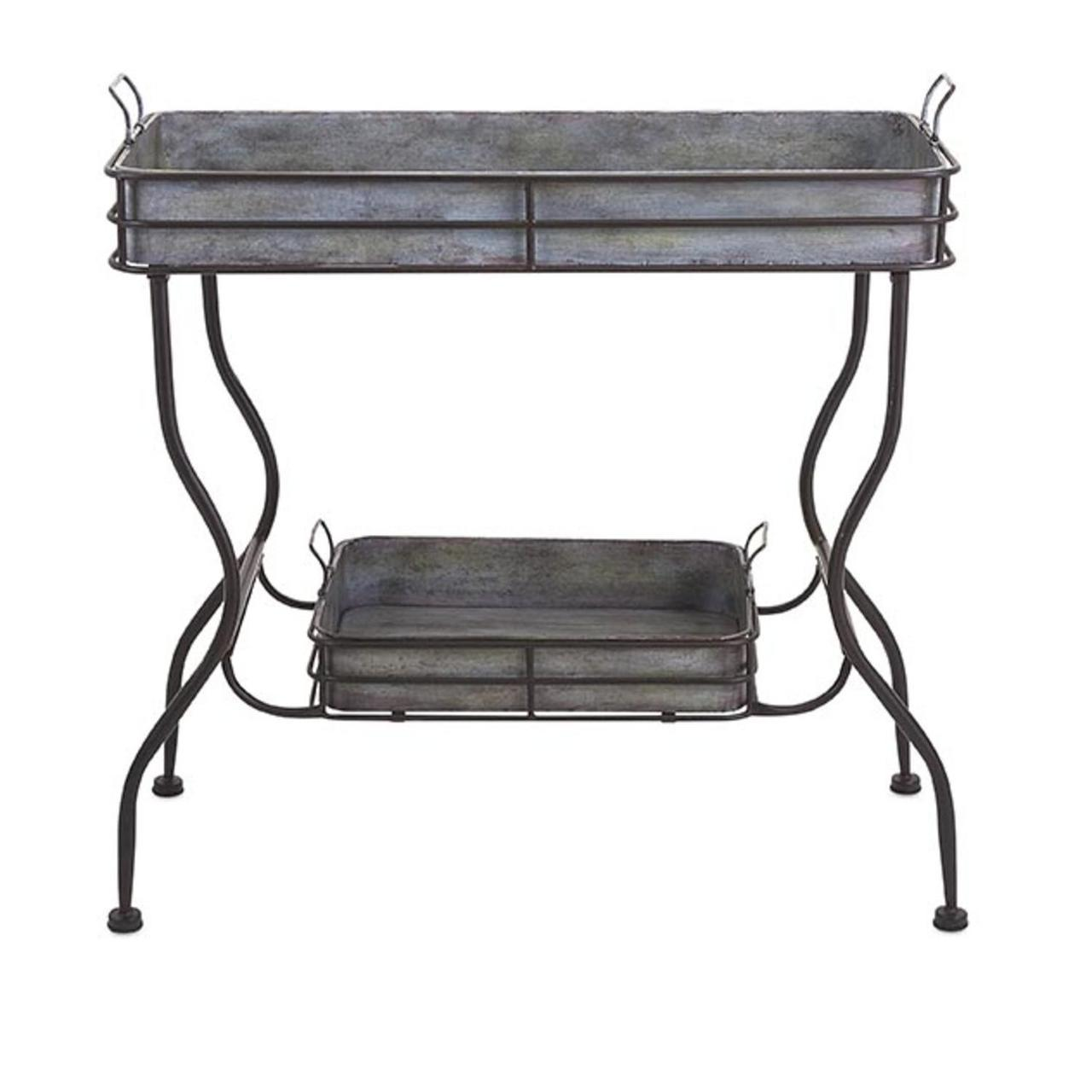 rustic silver galvanized metal accent table with removable tray serving trays espresso colored end tables coffee drawers ikea chairside kitchen furniture best outdoor antique