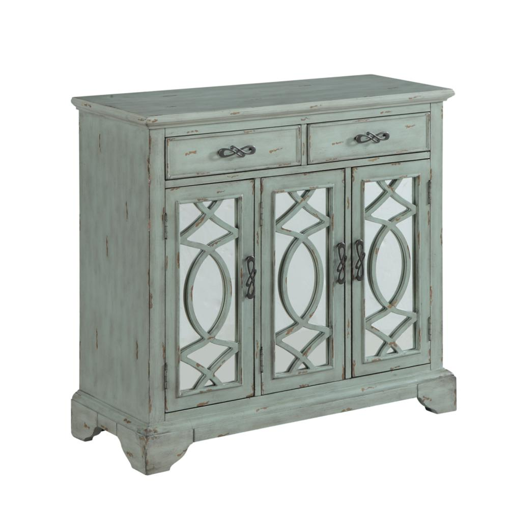 rustic style credenza accent cabinet with two mirrored doors and table drawers light teal finish ceiling curtain rod black leather dining room chairs chic coffee bark thins target