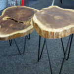 rustic tree trunk tables with hairpin legs modern house wood slice accent table piece black coffee sets threshold windham cabinet teal small rectangle tablecloth clear plexiglass 150x150