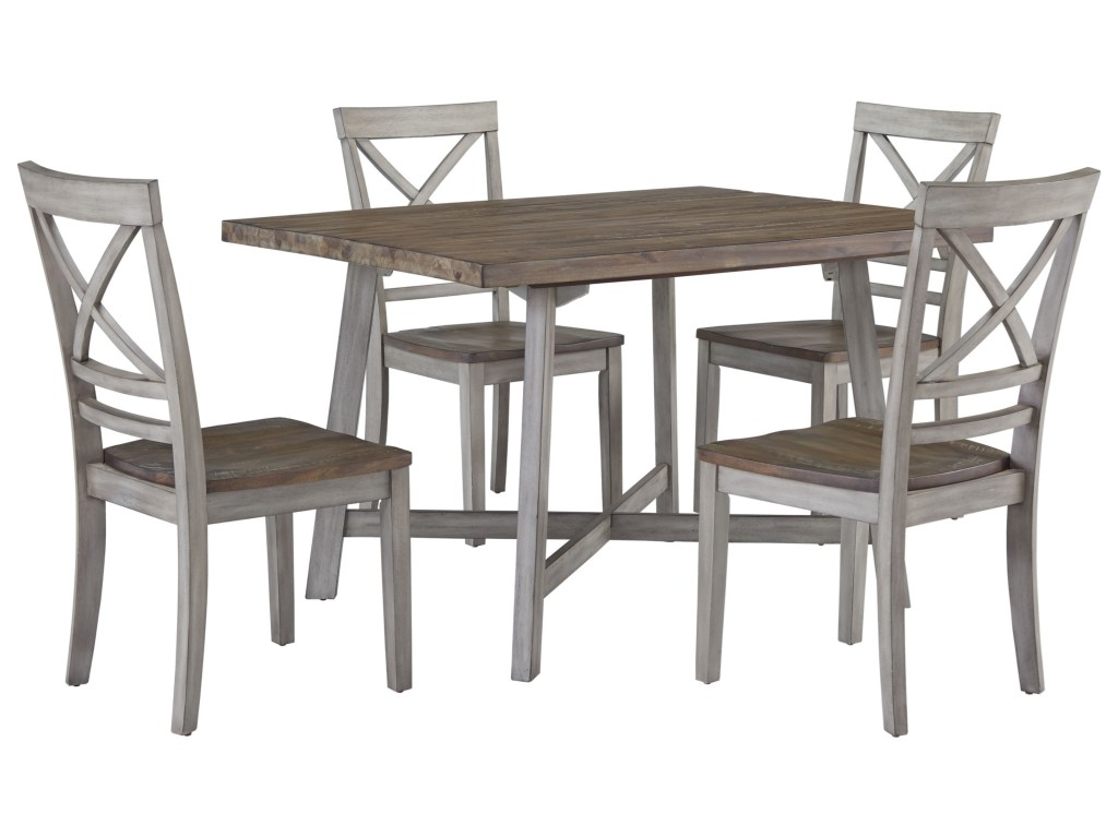 rustic two tone table and chair set ruby gordon home products standard furniture color fairhaven harrietta piece accent dining sets small chairs for living room glass side tables