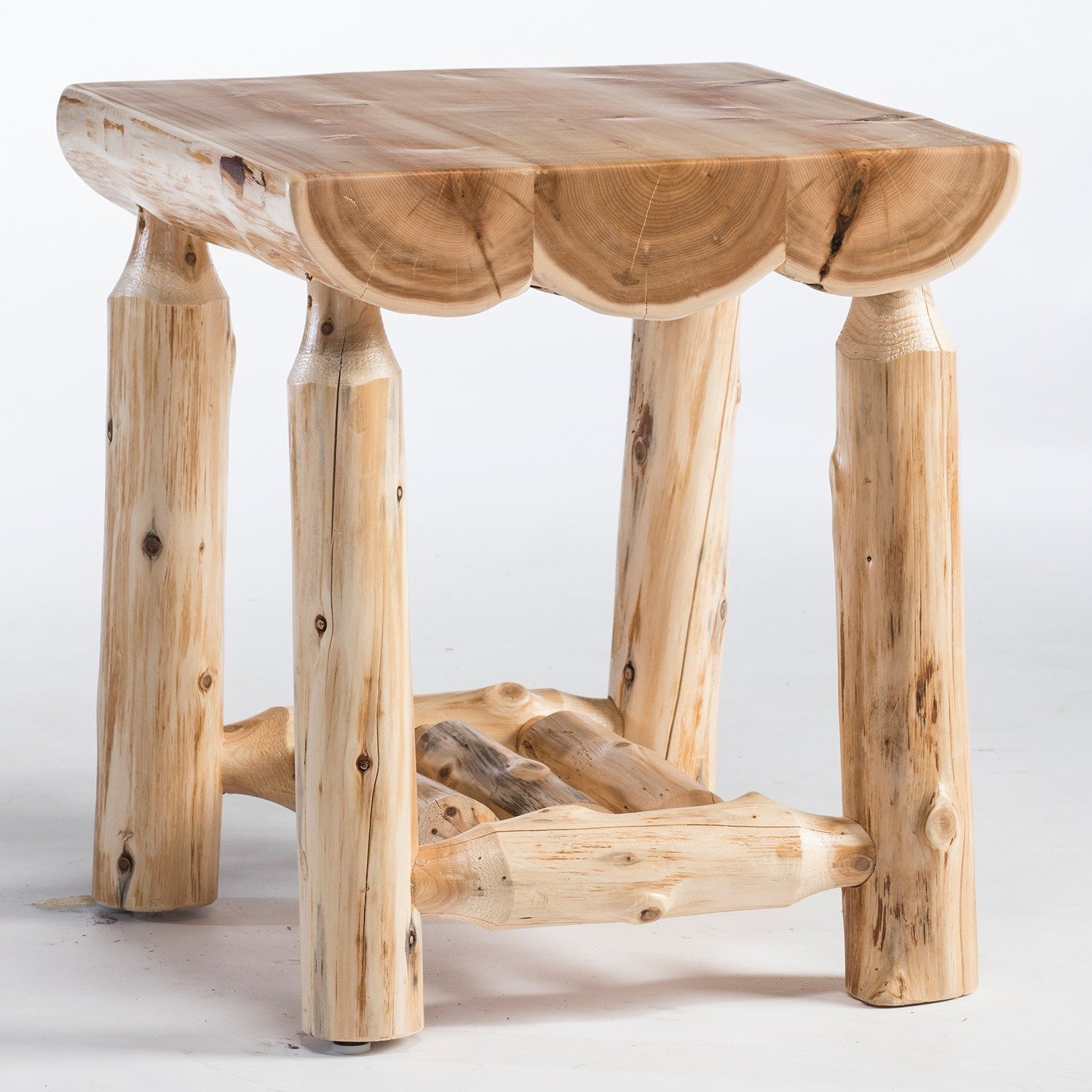rustic western and country end tables log whole corner accent table cedar lake half dorm room outdoor side beverage cooler chair drop leaf with folding chairs metal garden