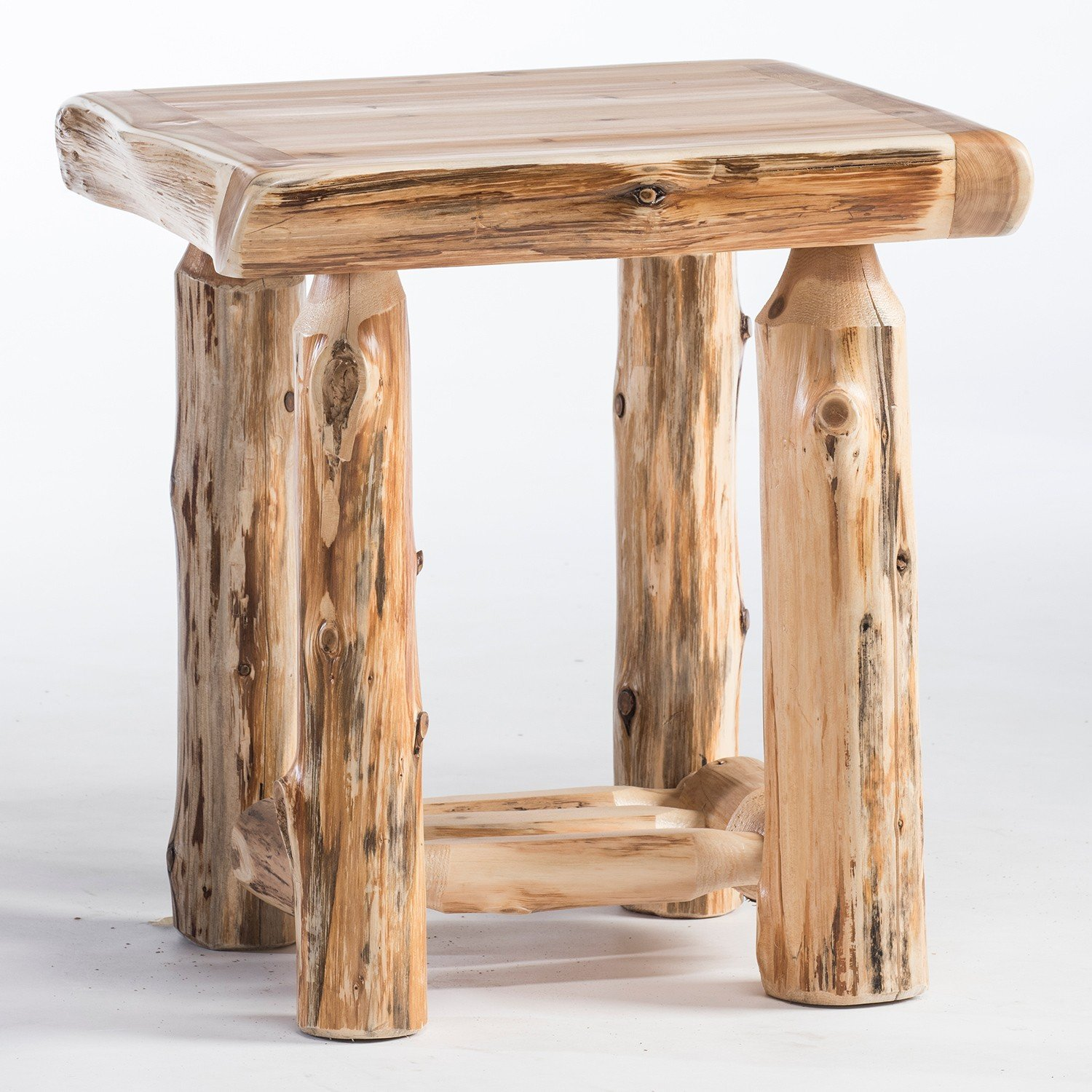rustic western and country end tables log whole corner accent table cedar lake old dining wooden home decor threshold windham one door storage cabinet drop leaf with folding
