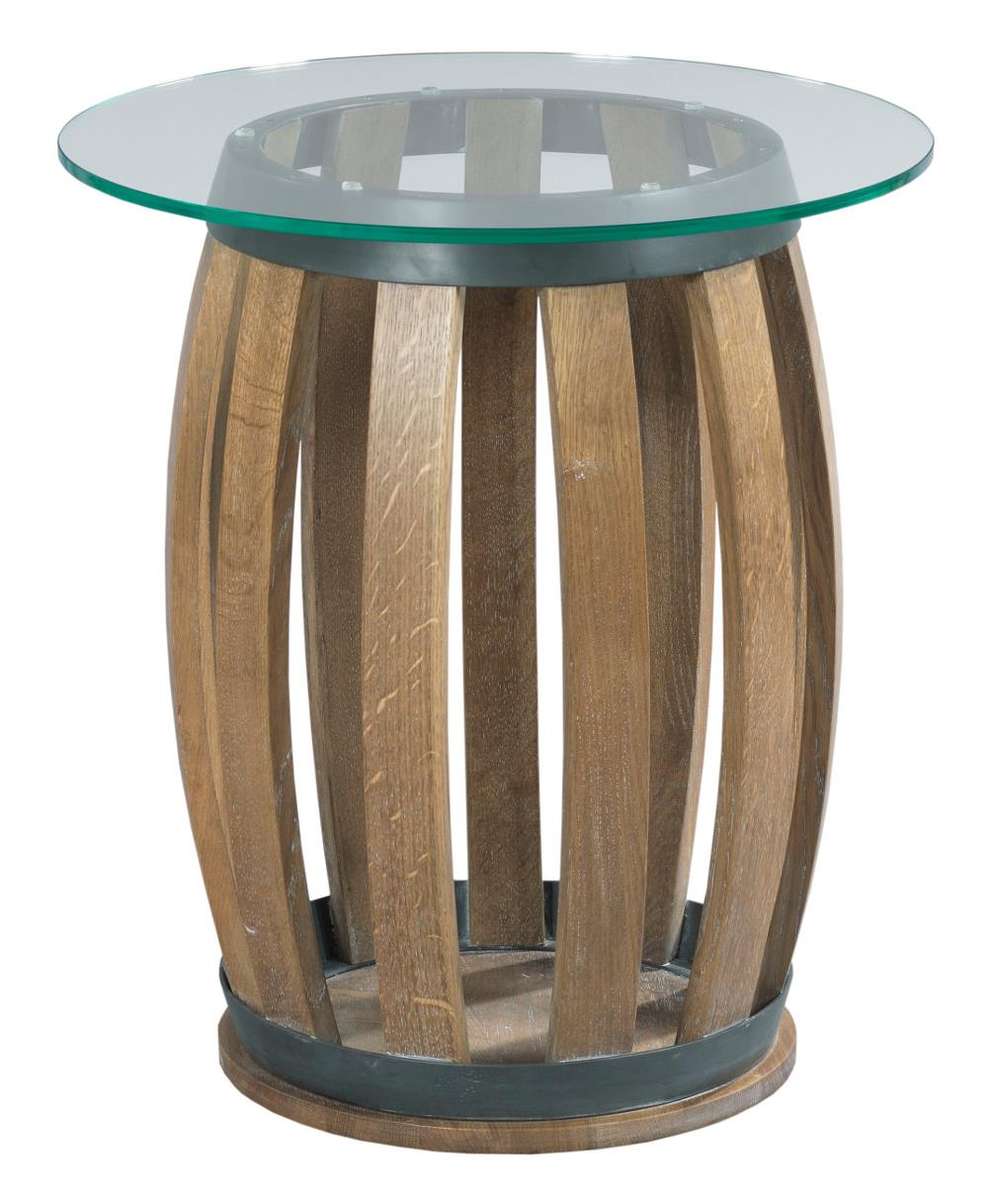 rustic wine barrel accent table with tempered glass top kincaid products furniture color stone ridge round wolf and gardiner retro kitchen chairs ceramic outdoor side patio small