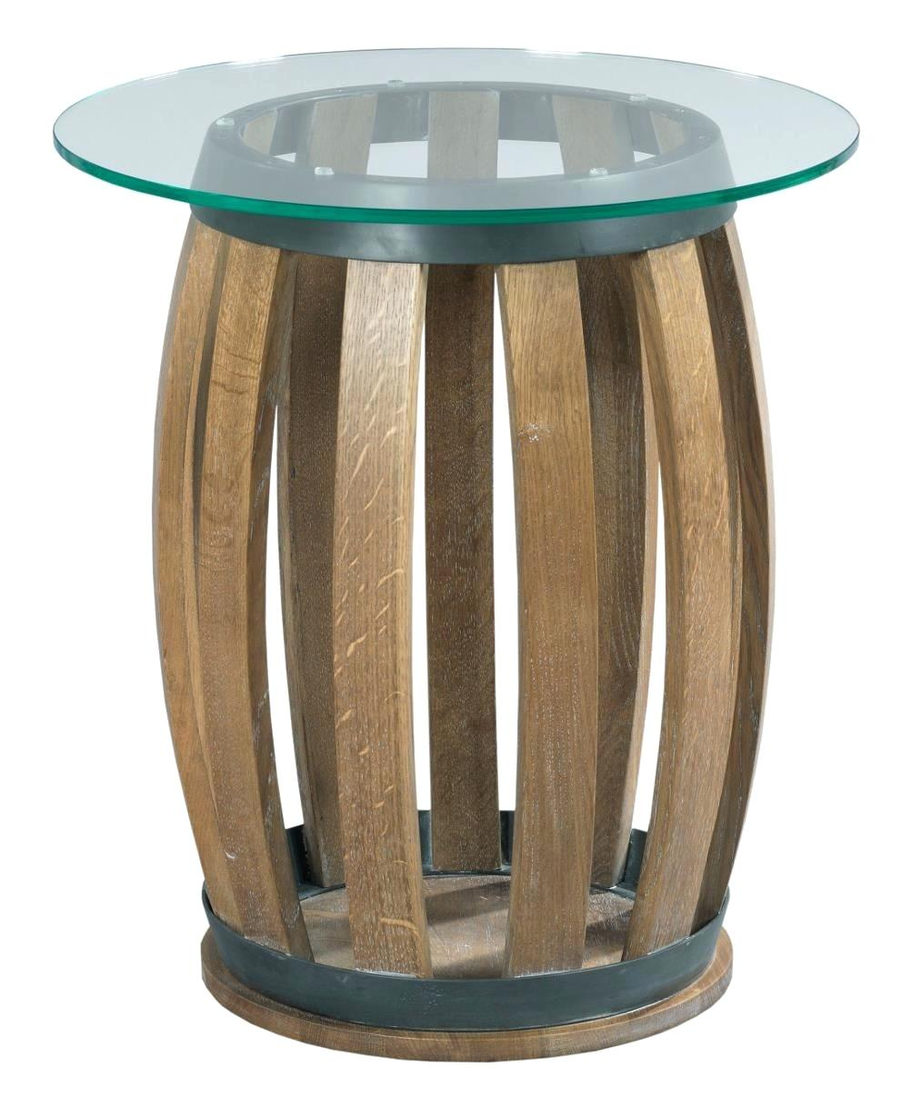 rustic wood accent table furniture stone ridge wine barrel with tempered glass top and metal garden round pedestal hampton bay pembrey french style small red wall clock triangle