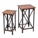 rustic wood accent tables find table get quotations set metal industrial side end plant display stands carpet transition piece stand legs black and silver red living room glass 150x150