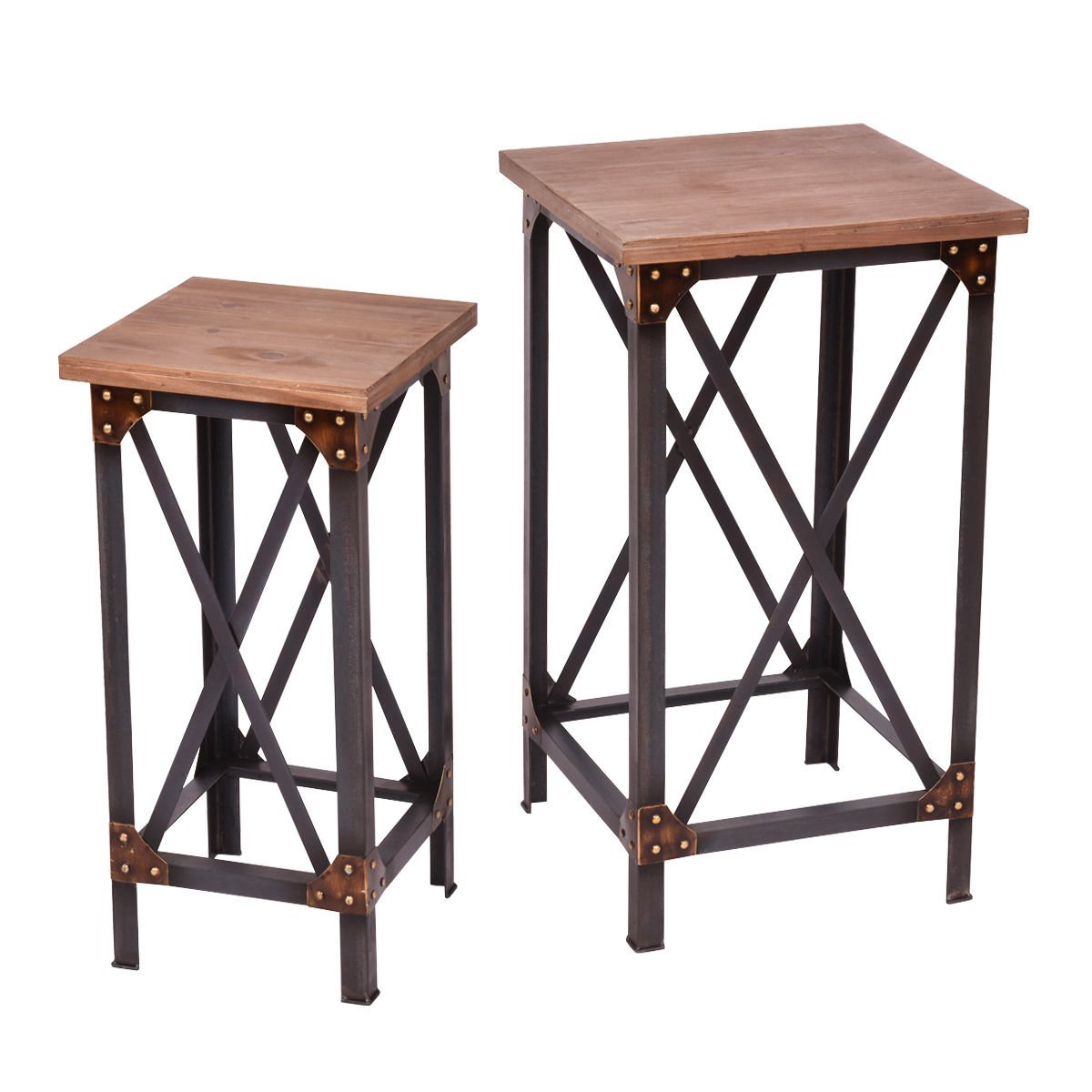 rustic wood accent tables find table get quotations set metal industrial side end plant display stands carpet transition piece stand legs black and silver red living room glass