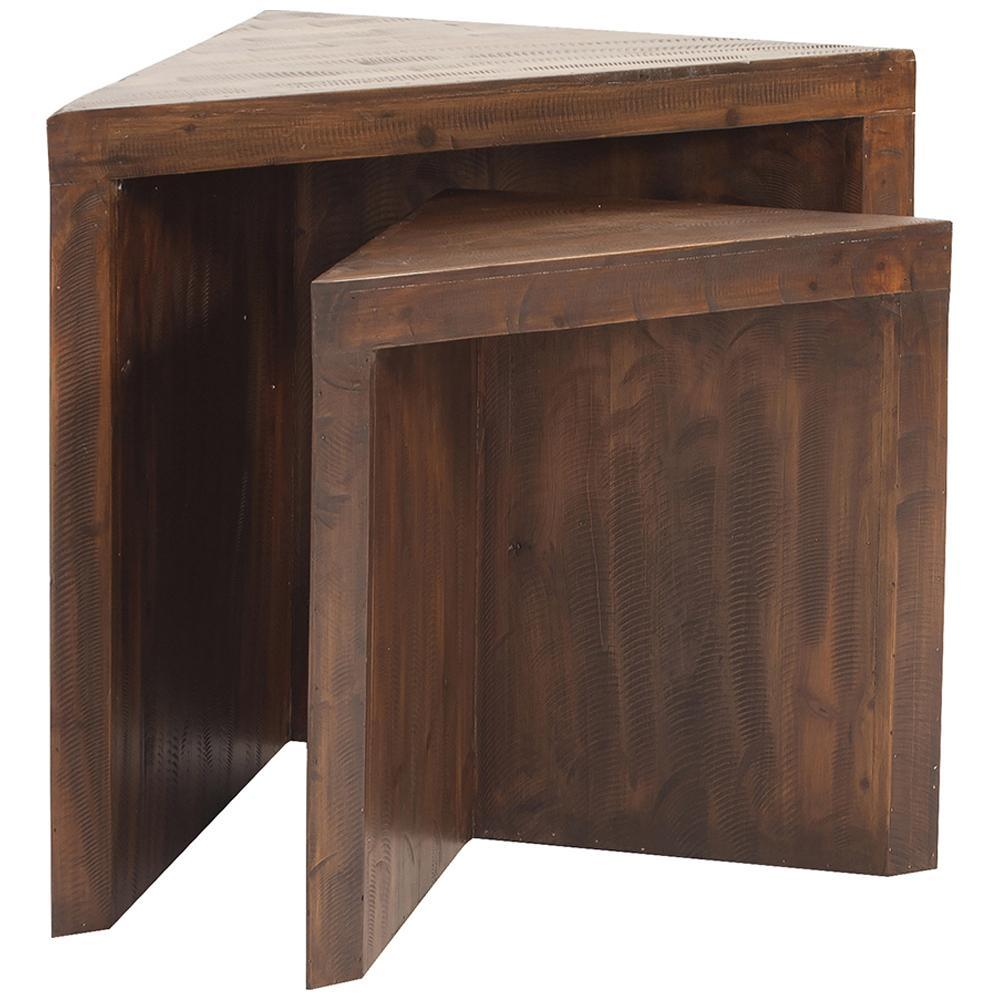 rustic wood nesting tables walnut stain accent table bar cabinet little for living room vintage mid century modern dining affordable coffee party cloth elegant placemats threshold