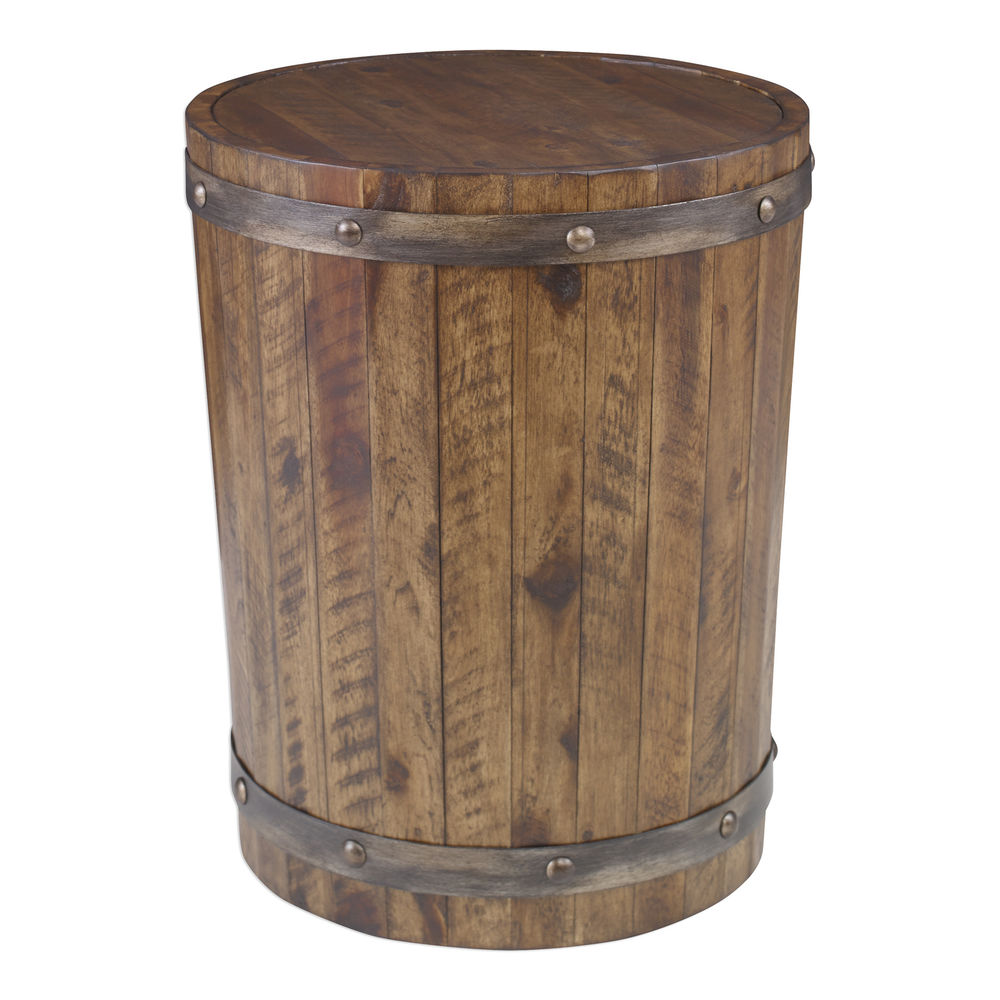rustic wood wine barrel accent table whiskey iron straps drum tibetan traditional ashley chairside end granite dining rack holder metal round white coffee wrought legs gold floor