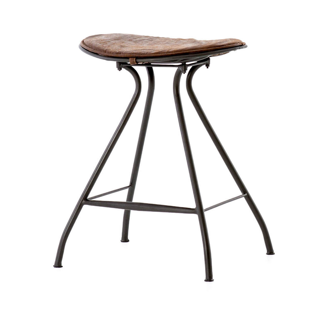 ryder saddle vintage leather iron counter stool zin home irck prm small accent table shallow console cabinet mirrored lamp light wood black pedestal side aluminum legs hexagon