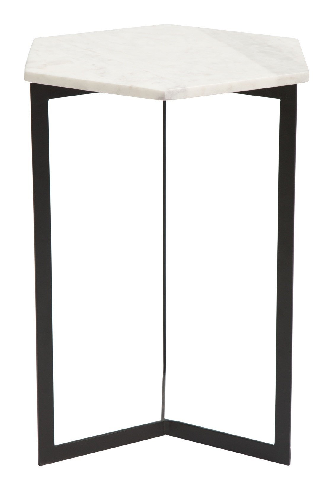 rys accent table with hexagon white faux marble top black iron base side tables alan decor bbq grill mid century modern round coffee casual dining sets teak patio furniture thin