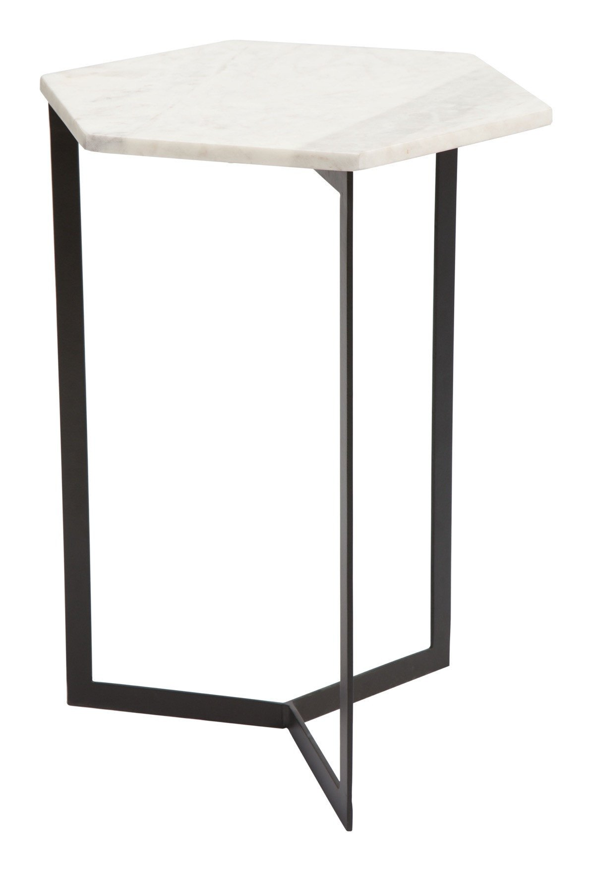 rys accent table with hexagon white faux marble top black iron base side tables alan decor room essentials queen comforter potting brass coffee tall dining sets ikea garden pots