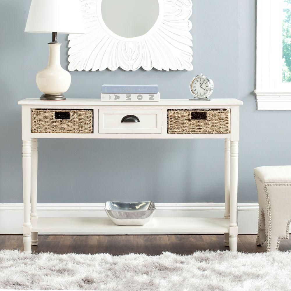 safavieh accent tables living room furniture the white console janika table winifred storage small occasional with drawer west elm bedding grey wood side tall hallway cabinet