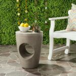safavieh aishi concrete indoor outdoor accent table dark grey gray free shipping today front porch bench solid wood round side foyer console entryway small decorative tables black 150x150