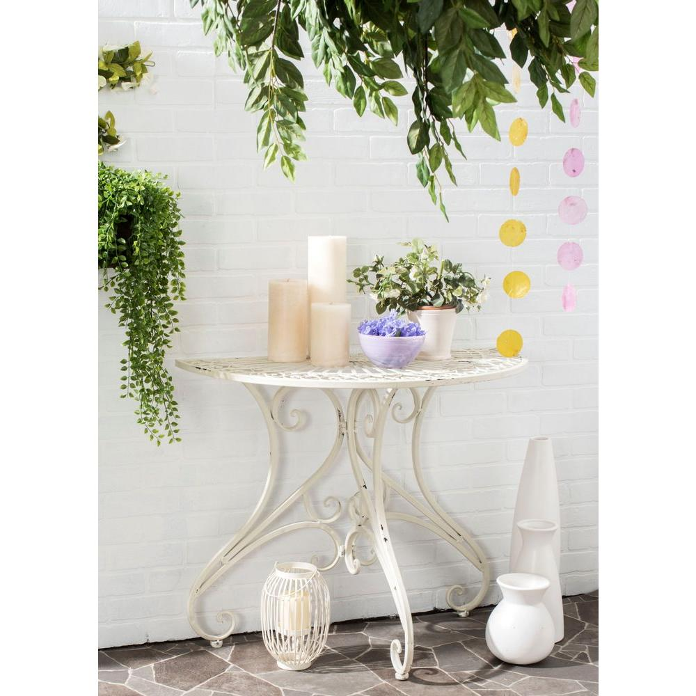 safavieh annalise outdoor antique white iron round patio accent side tables table small bedroom ideas ikea gold bedside lamps bunnings furniture led puck lights rustic dining