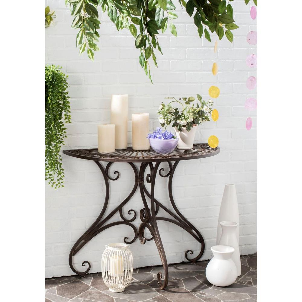 safavieh annalise outdoor rustic brown iron round accent side tables table owings target cloth buffet ikea furniture white farmhouse with bench uttermost martel console wall clock