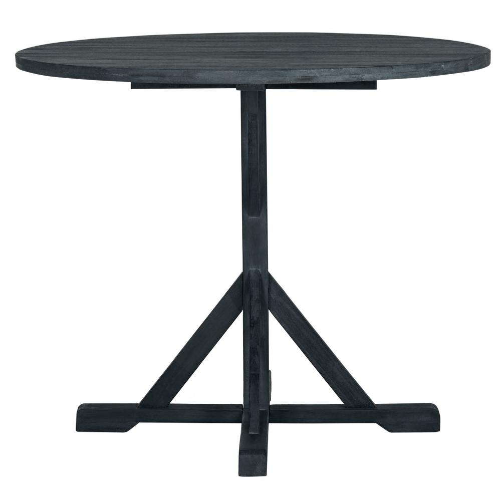 safavieh arcata dark slate gray round wood outdoor side table tables crystal lamps for living room tilt umbrella garden bench covers plastic small silver ideas extra large patio