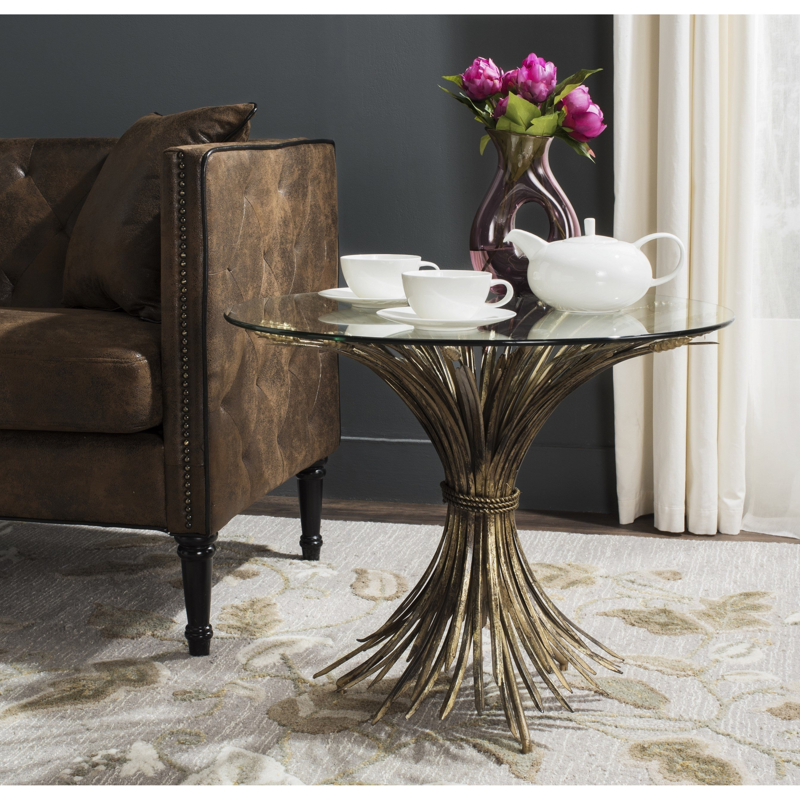 safavieh ayris antique gold leaf accent table free shipping today round black glass side pottery barn rain drum family room decorating ideas off white coffee and end tables diy