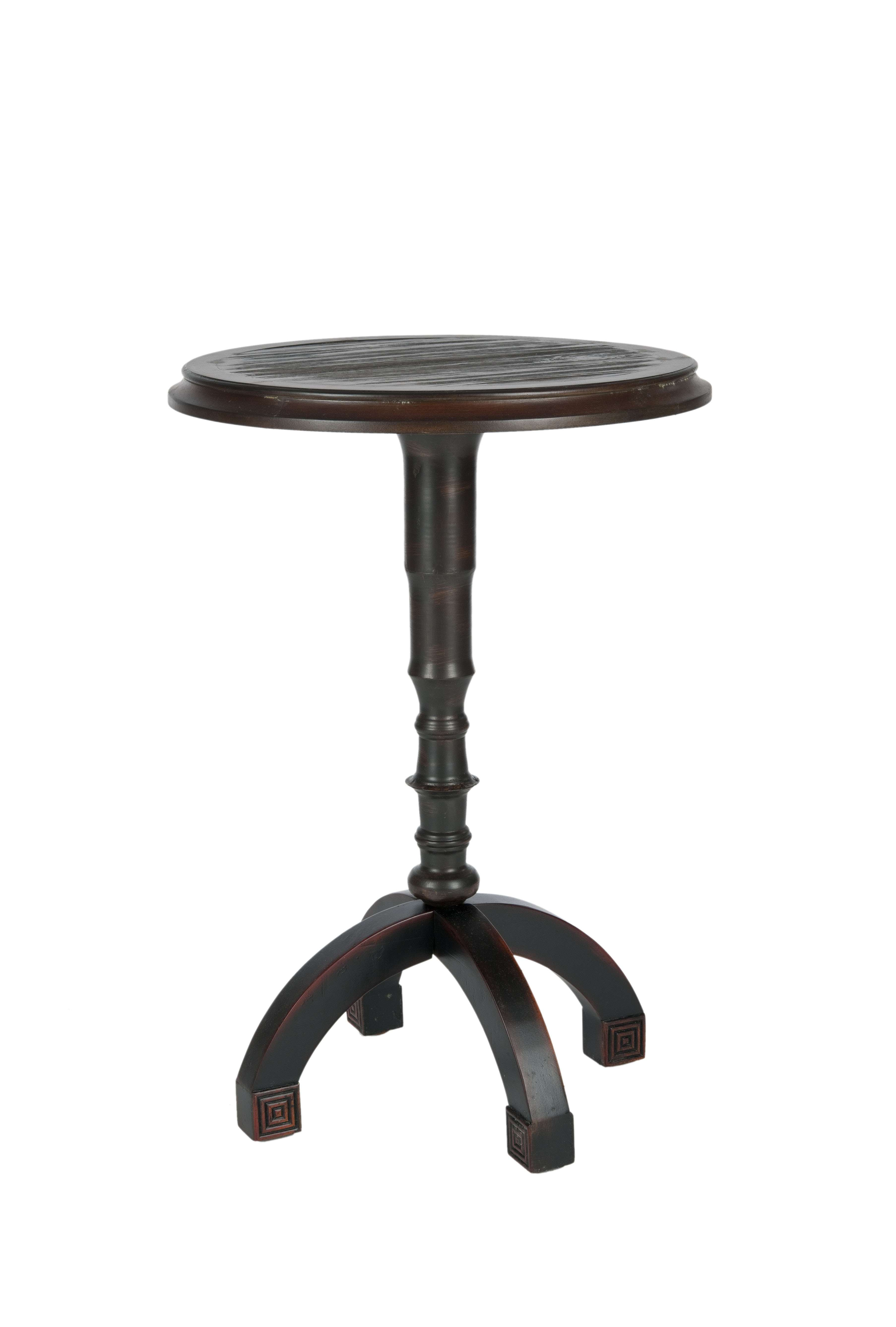safavieh barnaby distressed java round top accent table reviews white wicker and chairs black bar height sun umbrella base dark wood side brielle furniture fretwork coffee