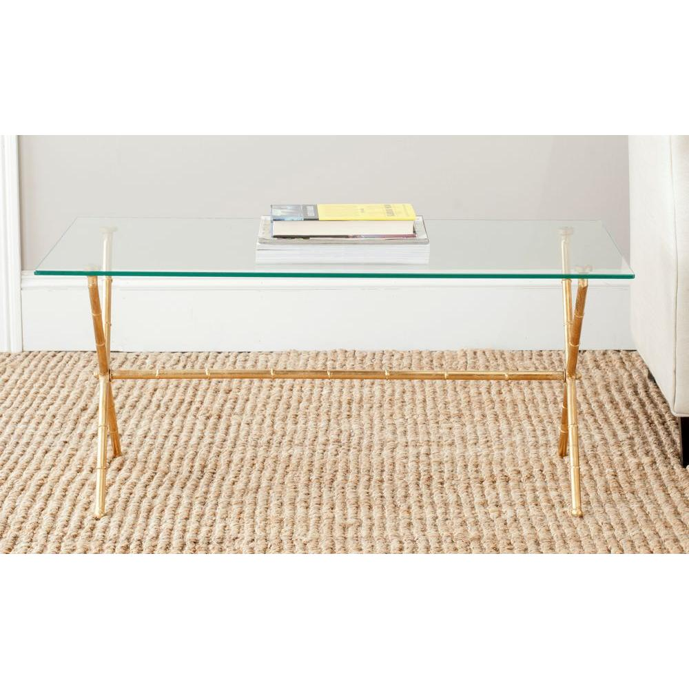 safavieh brogen gold and clear coffee table the glass top tables accent contemporary root long legs round set blue nest pier one furniture coupons trestle leg dining jeromes