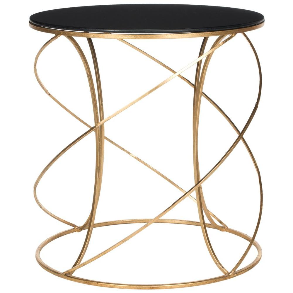 safavieh cagney gold and black glass top end table the tables wrought iron accent grey round cover creative legs country cottage coffee modern side mapex drum throne lamp bulb