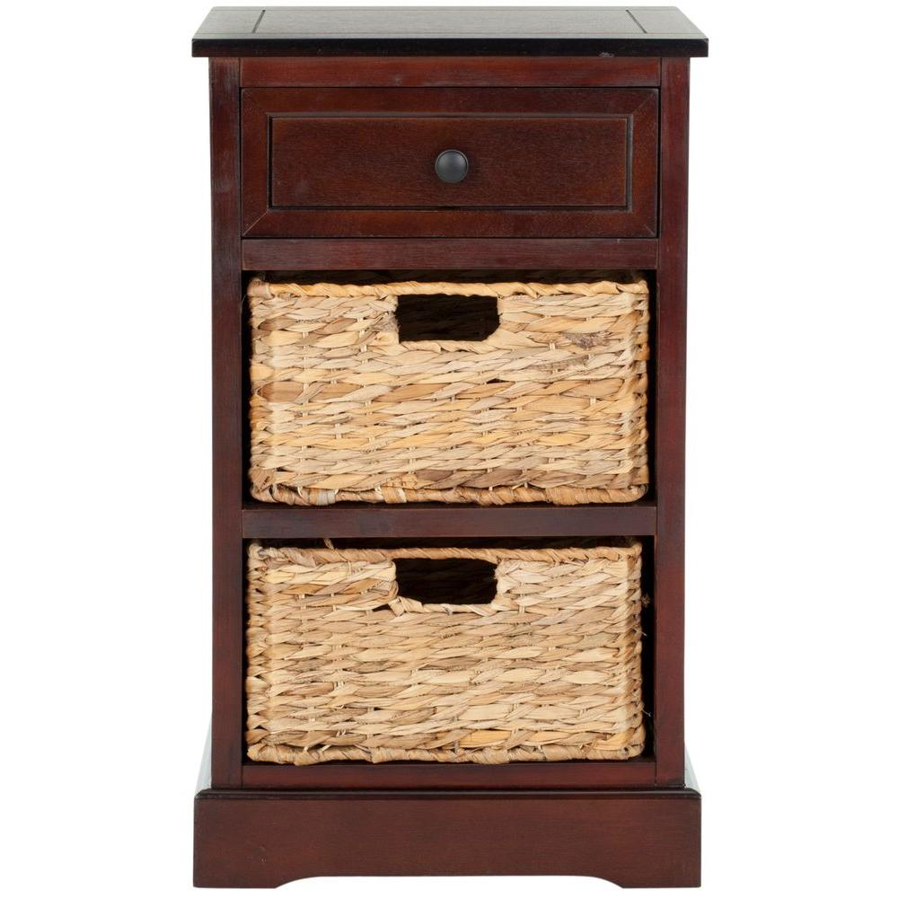 safavieh carrie dark cherry storage side table the end tables vintage cabinet lack sofa set small kohls rewards card tree trunk nightstand unfinished furniture black and silver