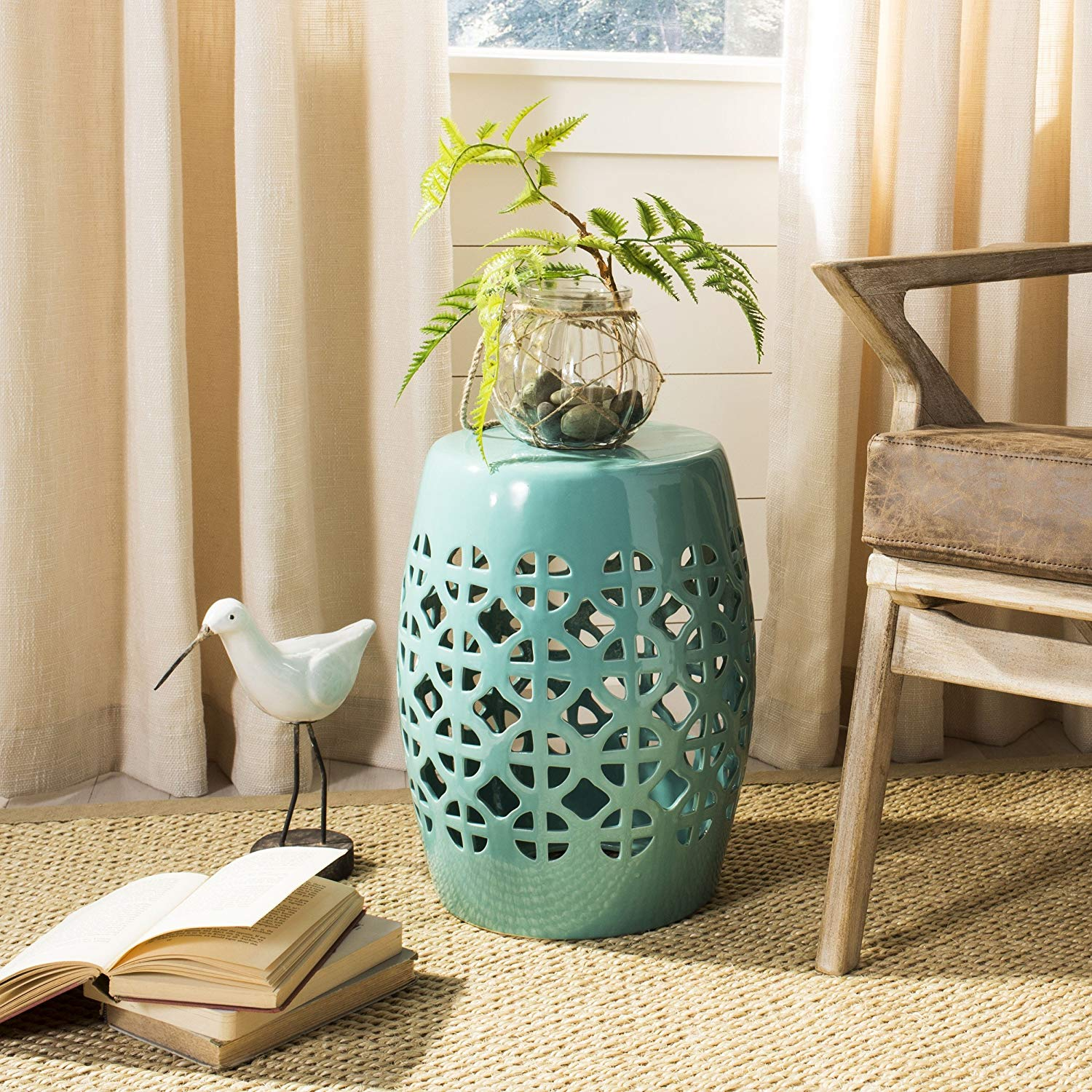 safavieh castle gardens collection circle lattice light blue ceramic accent table garden stool home kitchen sheesham bedside butcher block countertop brass sofa with drawers crate